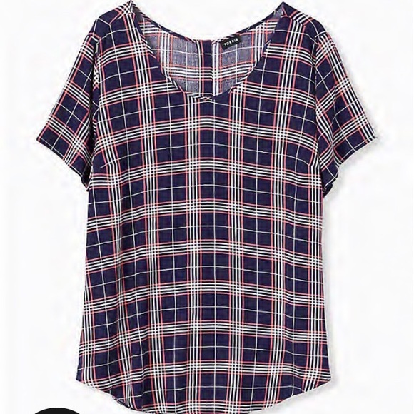 Torrid Navy and coral Plaid Button Back